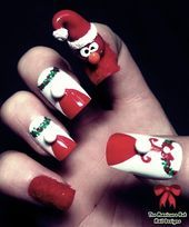 Photo of 3D Elmo Christmas Nails by manicabana  Nail Art Gallery nailartgallery.na by