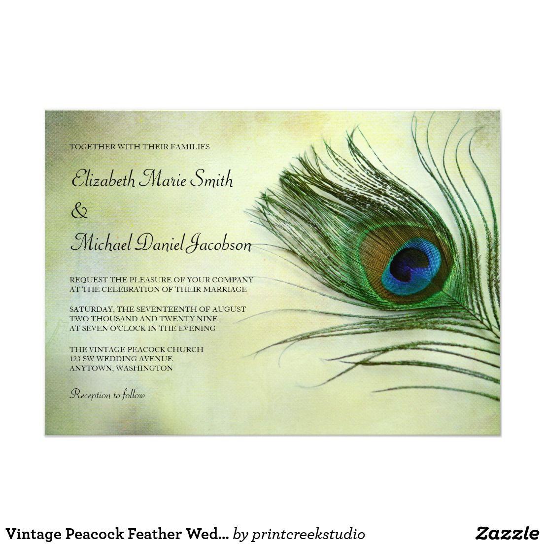 Vintage Peacock Feather Wedding Invitations