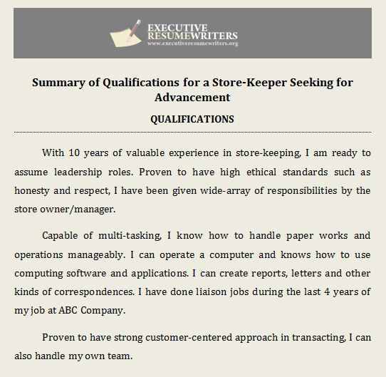 Professional #Help with #Summary of #Qualifications #Executive - resume for writers