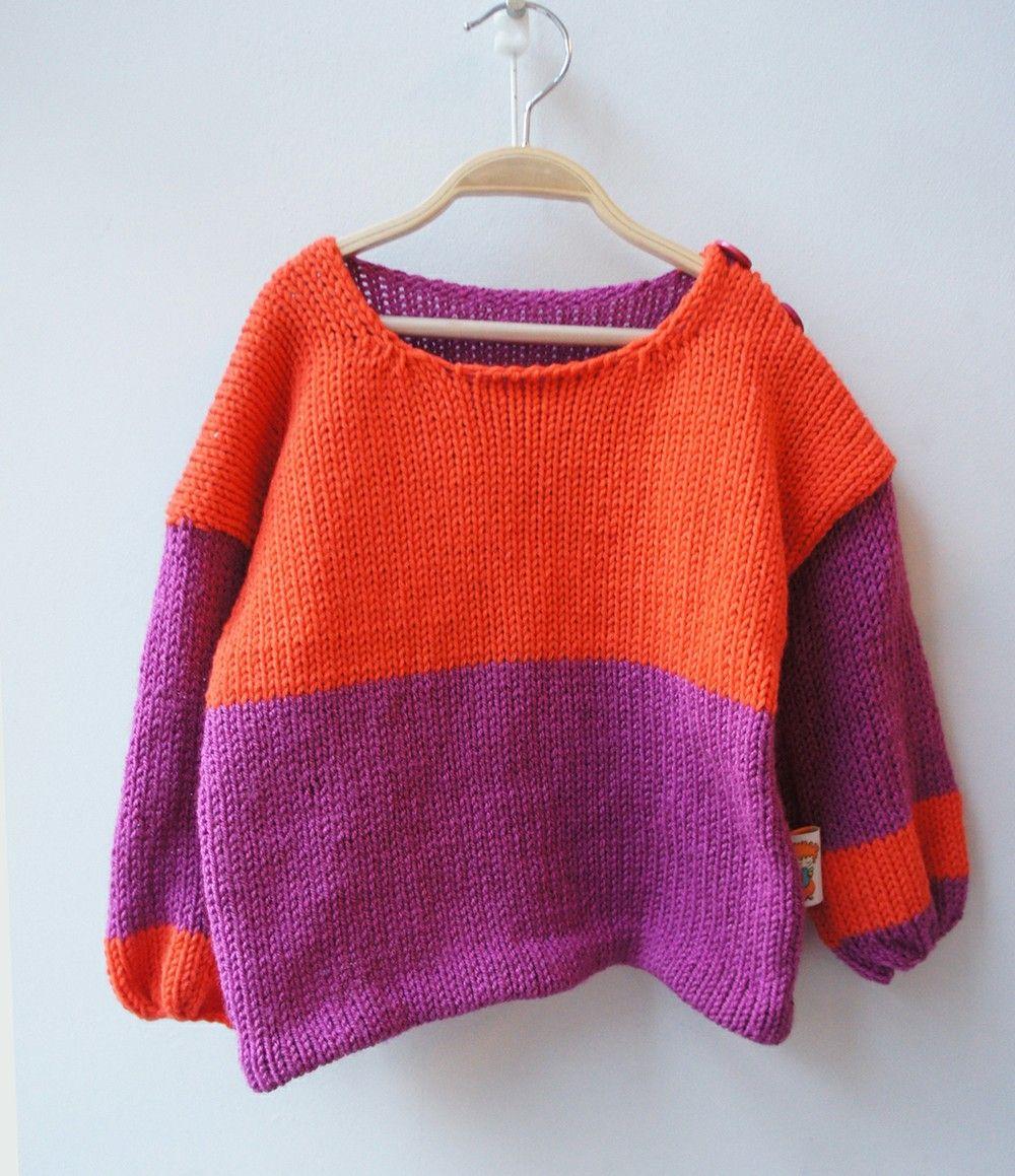 Color Block No.1 Purple and Orange-Children's Sweater via mandalinarossa. Click on the image to see more!