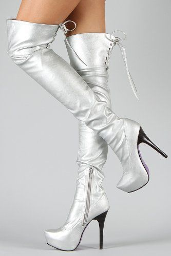 a258d21212f9 metallic silver thigh high boots with lace up back & purple sole <3 ...