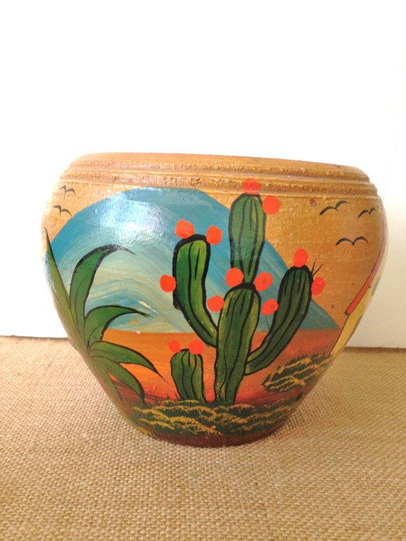 Cactus Pot Mexican Pottery Vintage Mexico Painted Folk Art Saguaro
