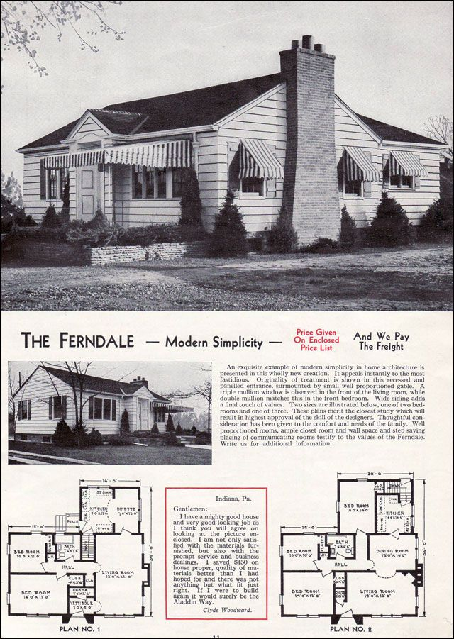 The 1940 aladdin kit homes catalog the ferndale a modest for 1940 house plans