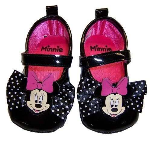 Infant Toddler Black Minnie Mouse Dress Shoes 3 6 Months