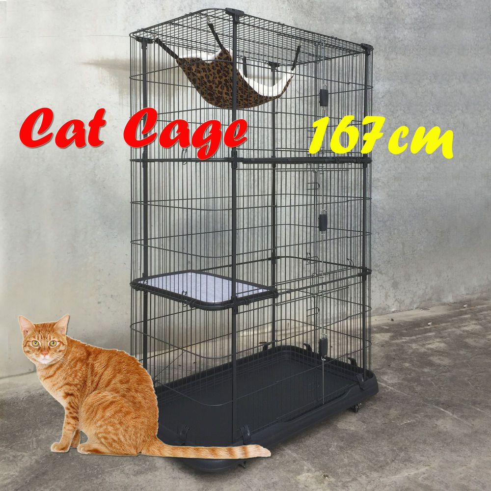 Here\'s a large wire cat cage with wheels and removable trays. | cats ...