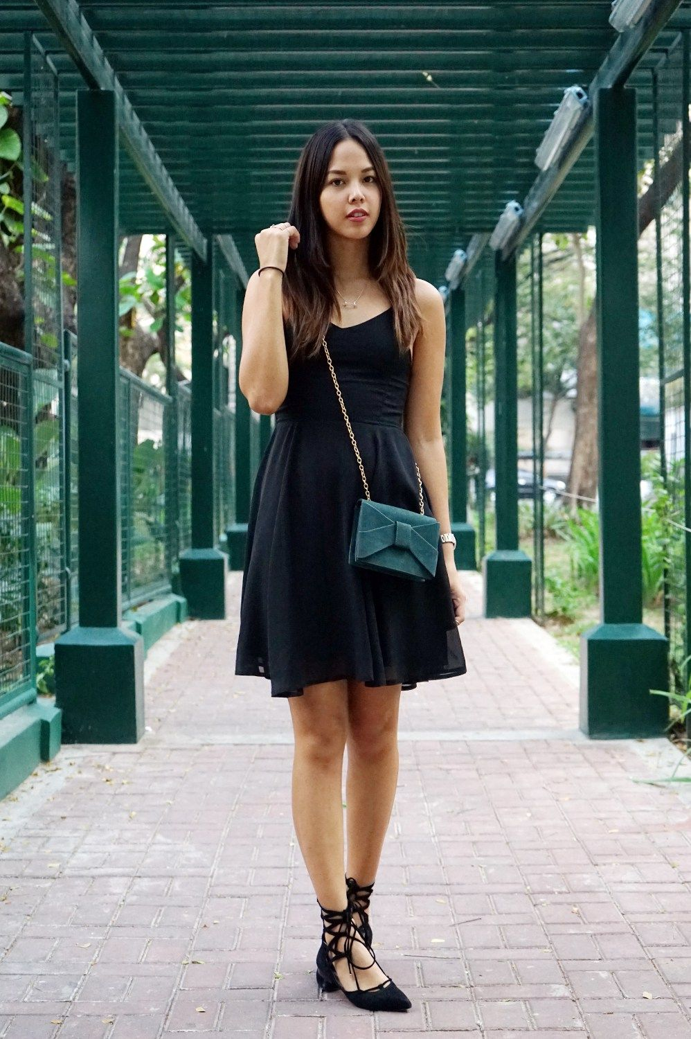 A little black dress paired with some lace up flats is always a great idea!