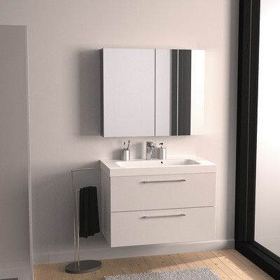 Bagno-Mobile bagno Remix 2 cassetti L 91 x P 48.5 x H 58 cm bianco ...