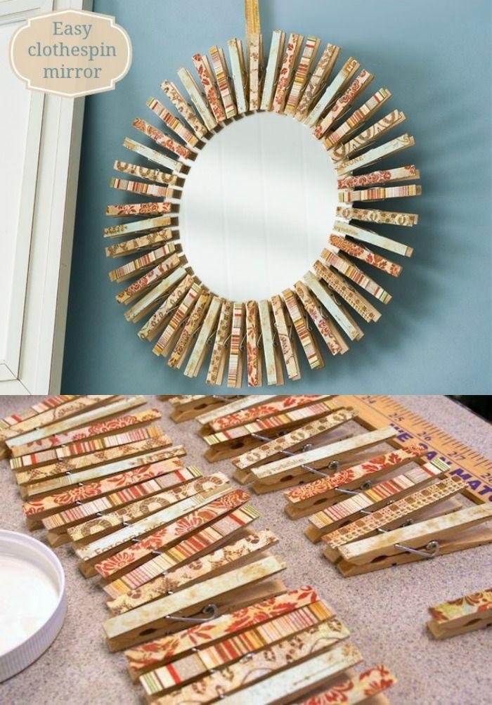 The Easy Way to Make a Clothespin Wreath Mirror