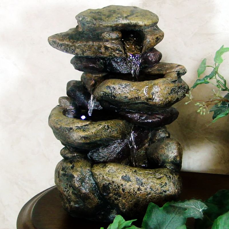 Alpine 3 Tier Rock Tabletop Fountain With LED Light