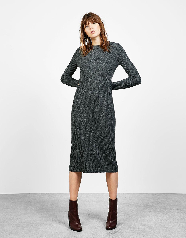 23cc43c1a639 Ribbed straight cut midi dress | Fashion | Winter dresses, Dresses ...