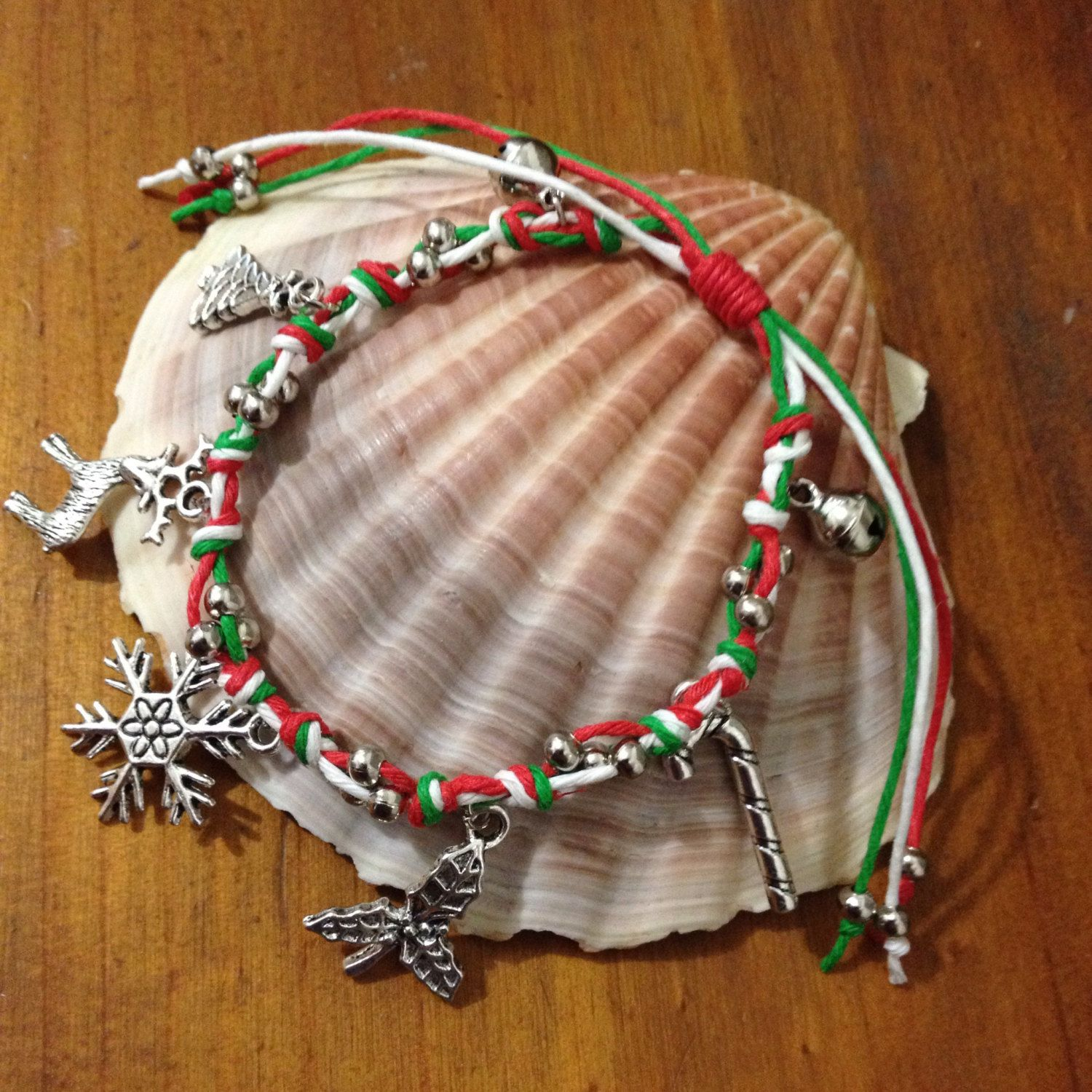 Hemp cord Christmas/Xmas Charm Friendship Bracelet with knotted detail and metal beads by PurpleowlProducts on Etsy