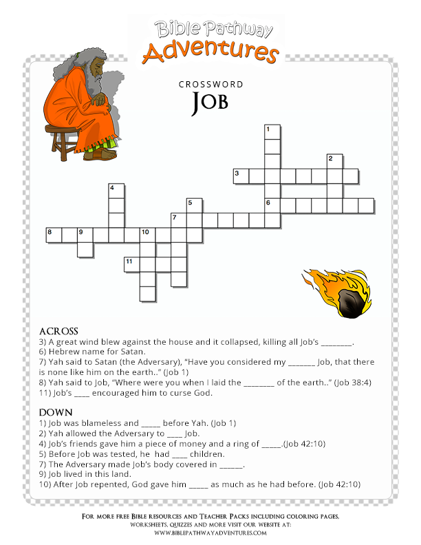 Free bible crossword puzzle job bible sunday school for Job bible lesson craft