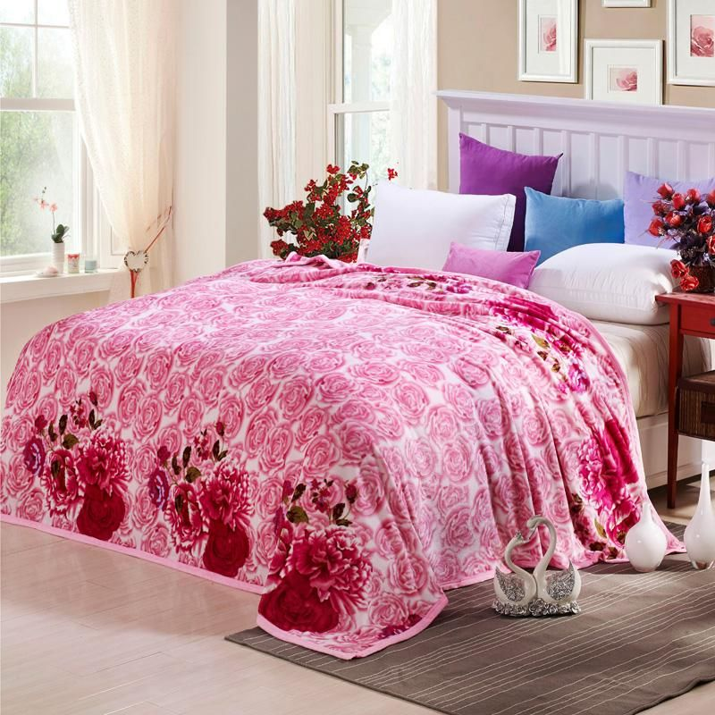 pink Rose wedding Blanket double face winter bed sheets sofa Throws ...