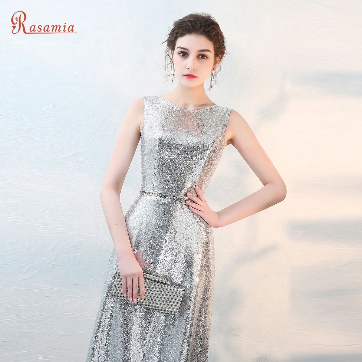 Click to Buy << Sparkly Silver Sequin Formal Evening Gowns ...