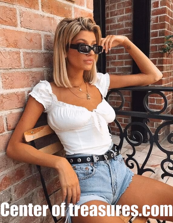 Photo of 🎁 Salg 🛍️ Off Shoulder Casual Bow Tie Tank Top T-skjorte Crop Cami Topper Ruffled Solid Camis
