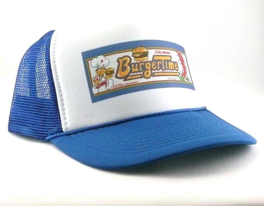 e11f6aa17b280 Burger Time Trucker Hat mesh hat snapback hat royal blue video game hat  vintage  TruckerHat  Trucker