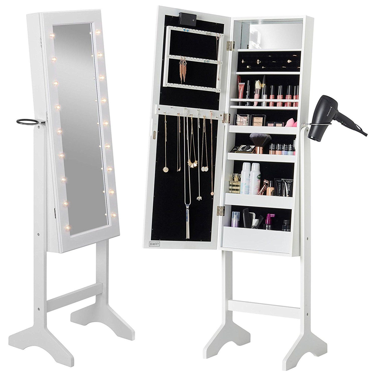 Beautify Mirrored Jewelry Armoire With Led Lights Floor