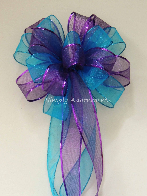 Purple and blue wedding decor  Purple Blue Peacock Wedding Pew Bow Aqua Blue Purple Party