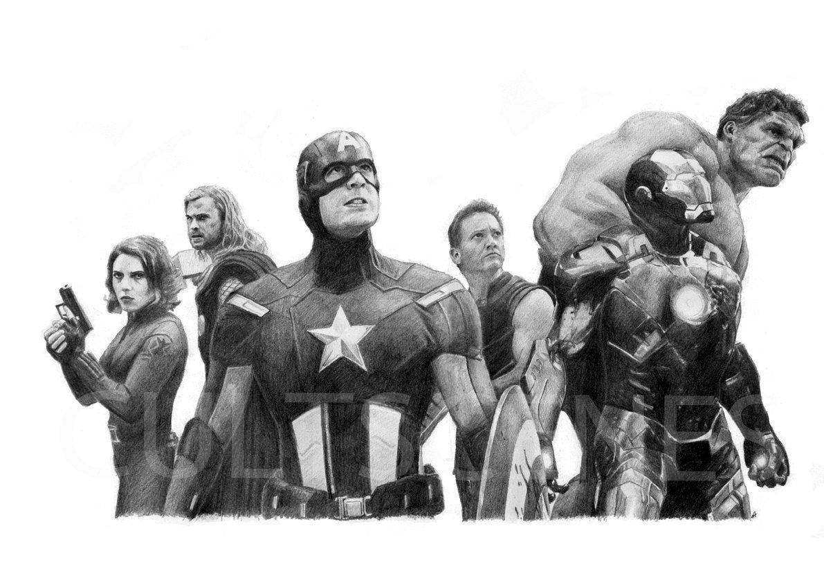 Avengers Assemble Pencil Drawing By Cultscenes On Etsy U00a37.00 | I Wish I Could Draw Like This ...