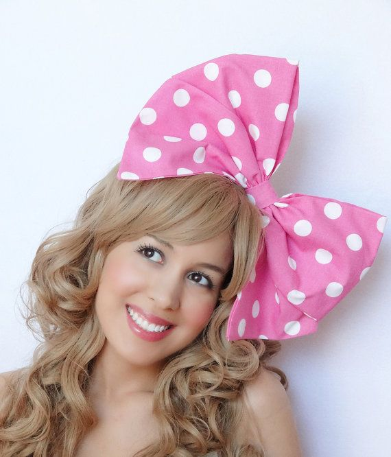Hot Pink White Polka Dots Daisy Flower Hair Clip Girls Bow Headband Accessory