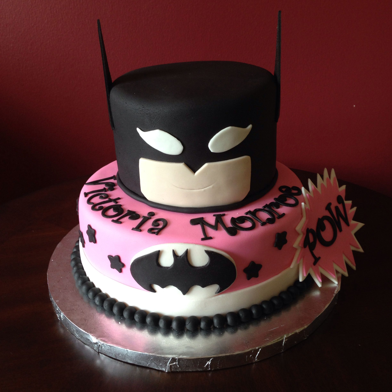 Pink and Black Batman Birthday Cake