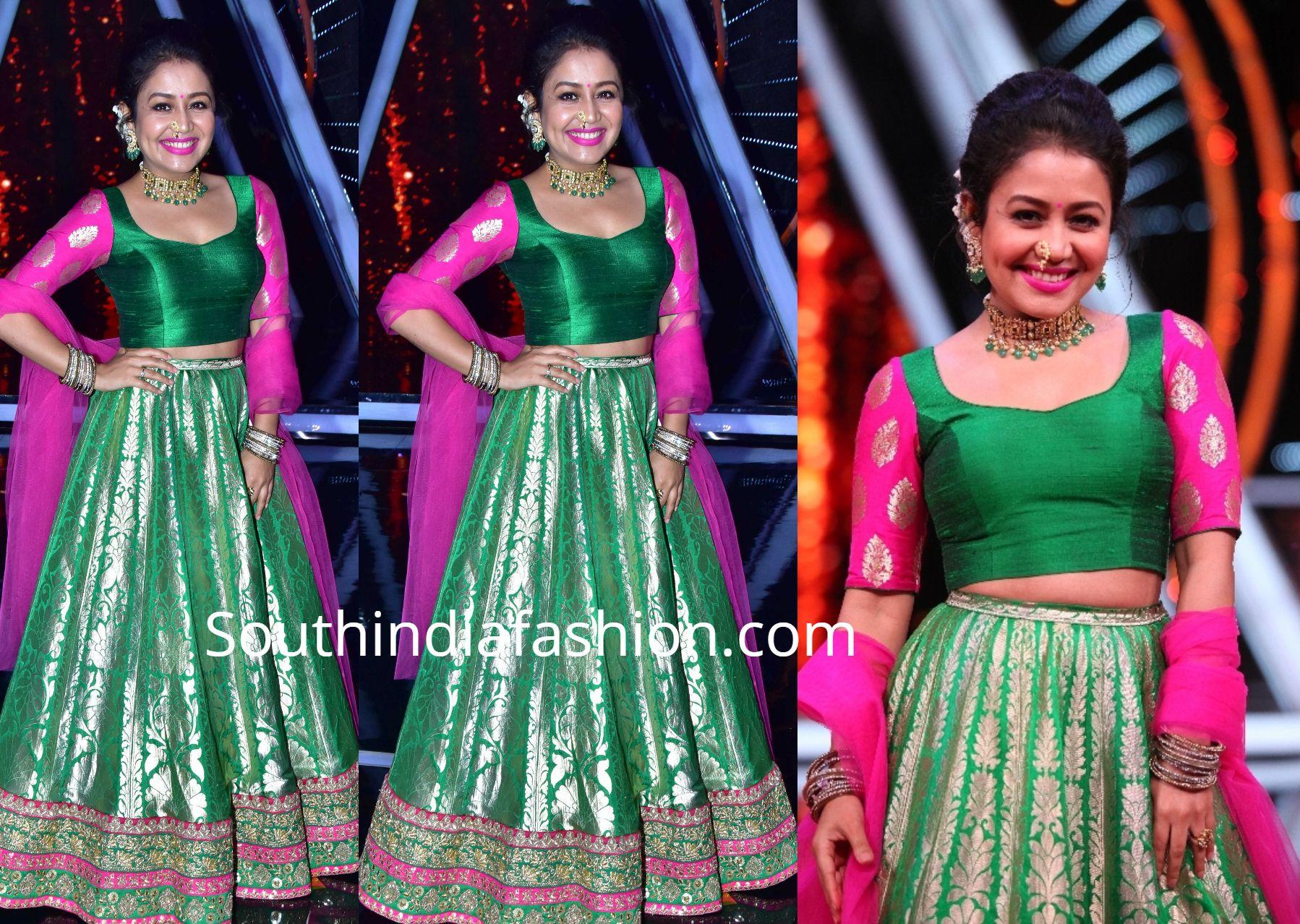 Neha Kakkar In A Green Lehenga South India Fashion Green Lehenga Neha Kakkar Dresses Lehenga