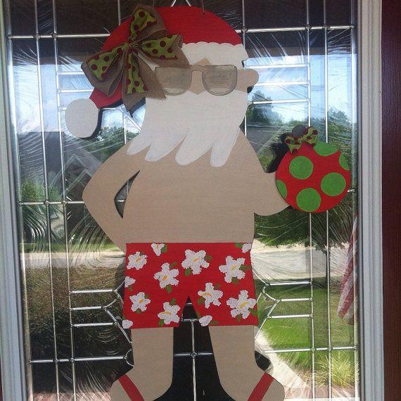 Hawaiian Santa Clause Wooden Door Hanger By