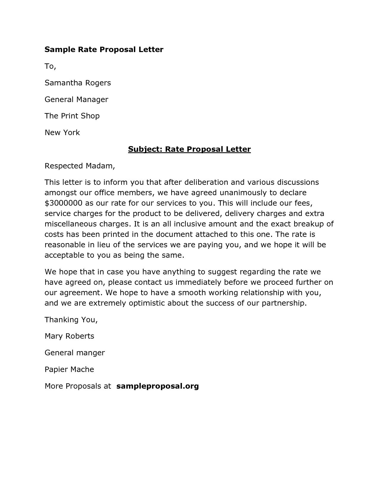Proposal Letter Template Sample Business Proposal Letter