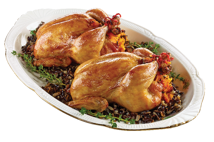 Roasted Cornish Hen - Stuffed with Butternut Squash and Wild Rice from #YummyMarket Thanksgiving Special