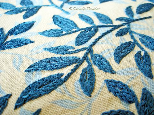 Beautiful with a shadow print below . . . by catnipstudio Teal Vine 1 Hand Embroidery, via Flickr.
