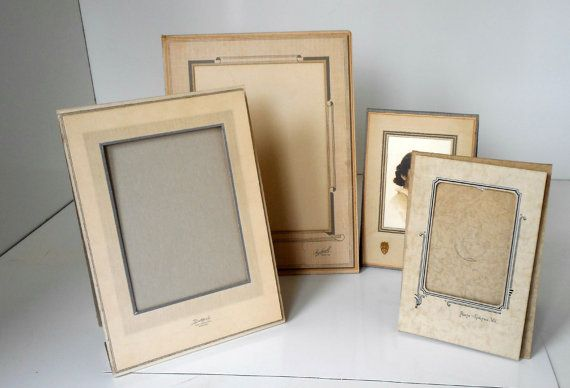 Vintage Art Deco Photo Frames Lot of 4 Folding Card Stock Frames Geometric Design Matte Picture Frame