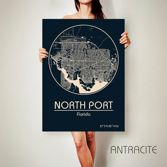 North Port Florida Map.North Port Florida Canvas Map North Port Florida Poster City Map