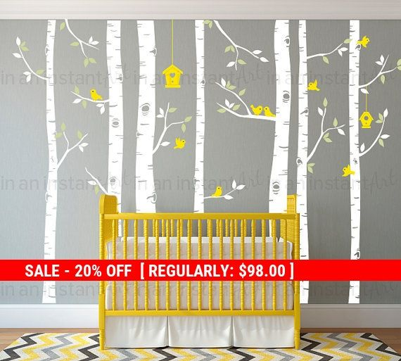 Birch Tree Wall Decals  Seven Birch Trees with by InAnInstantArt
