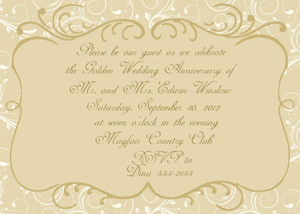 Wedding Invitation Golden Wedding Anniversary Invitations Superb Invitation Superb Invitation
