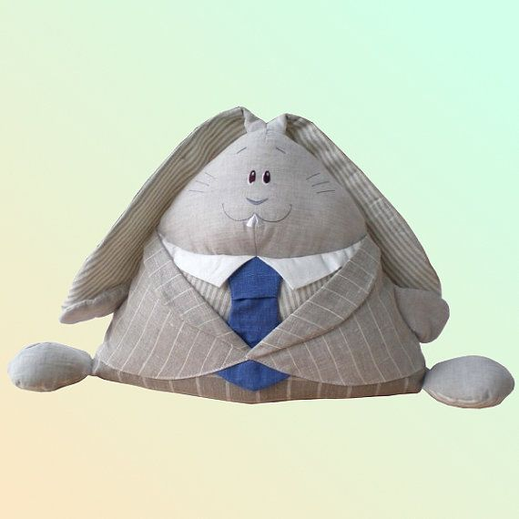 Rabbit the Boss in a Suit Organic toy linen hypoallergenic eco bunny perfect present for business people vintage looking