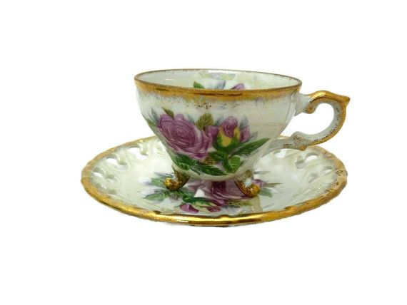 Footed tea cup! Vintage Porcelain Footed Tea Cup and Saucer Mauve by SheLeftUsThis, $21.95