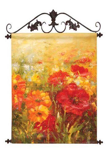 A Field Of Florals Hand-Painted Canvas Wall Art with Ornate Scrolled ...