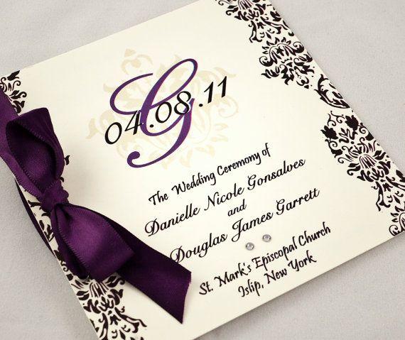 Damask Wedding Program Purple And Black By Jessicalamdesigns 206 25 Pricey But Gorgeous Damask Wedding Wedding Programs Wedding