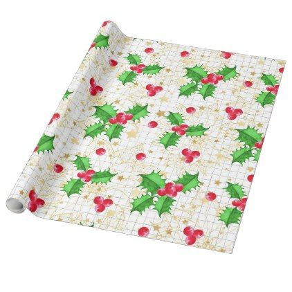 Christmas holly berries wrapping paper - christmas wrappingpaper