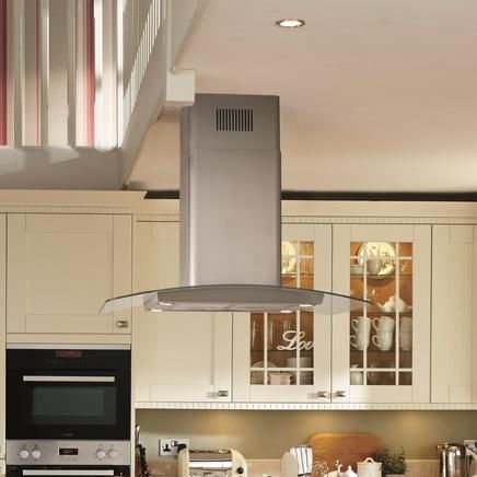 Lamona Stainless Steel and glass 90cm island extractor