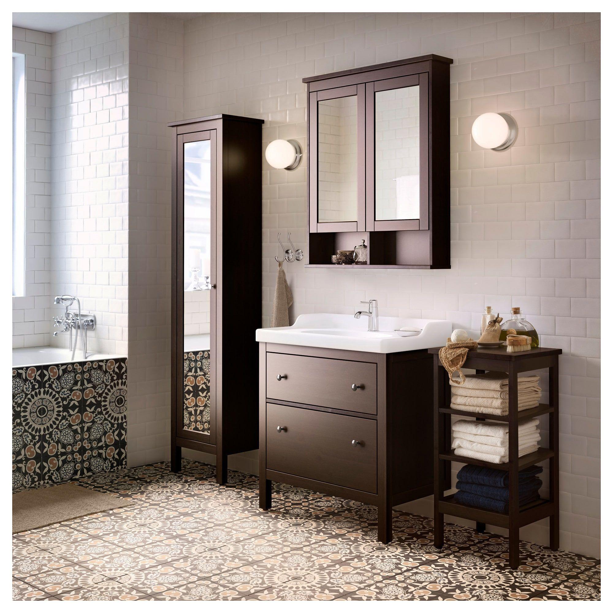 Ikea Hemnes Black Brown Stain High Cabinet With Mirror Door