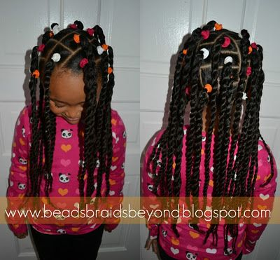 banded two strand twist ponytails