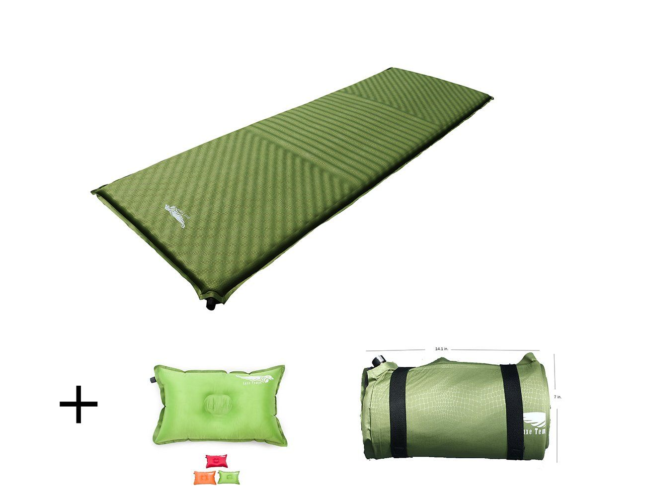 luxe tempo luxury self infalting sleeping pad 3 6lb with free pillow