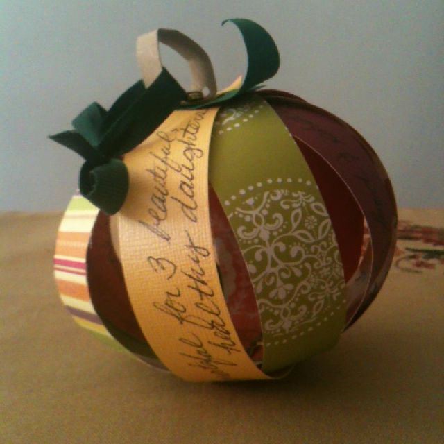 Scrap paper Thankful Pumpkin Ornament