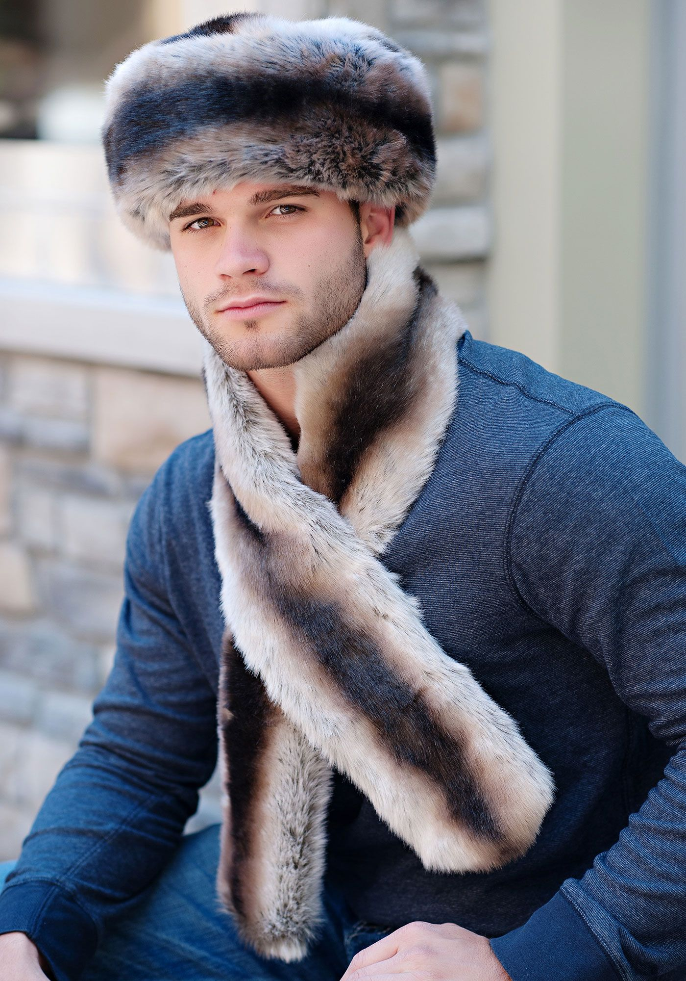 9cfd94dc222 Mens Chinchilla Faux Fur Russian-Style Hat