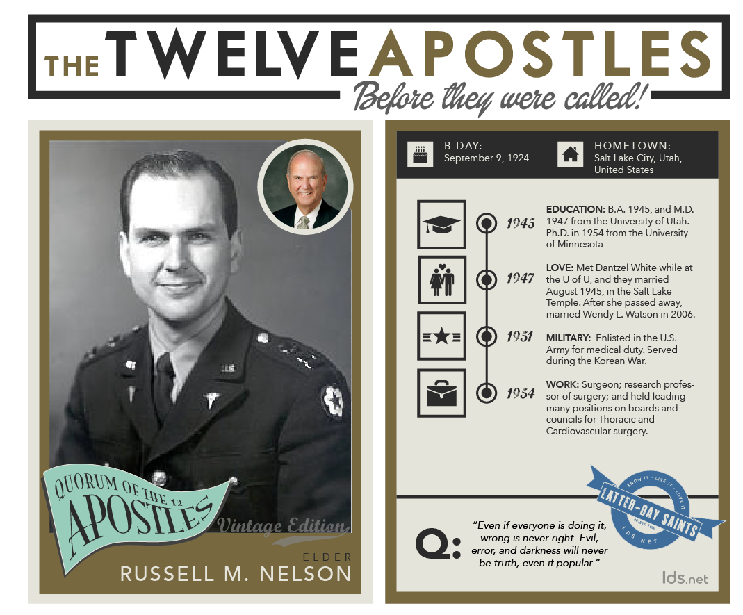 9d5d5fb1031e Infographic of the life of Russell M. Nelson. Apostles are awesome.
