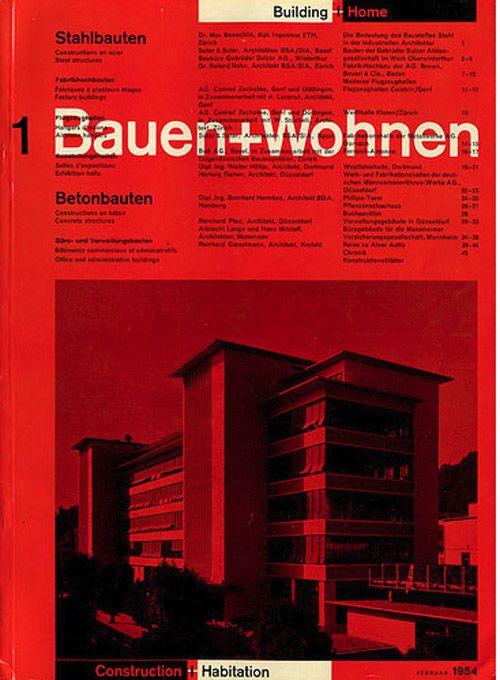 Bauen wohnen magazine 1954 identity pinterest for Bauen modern magazin