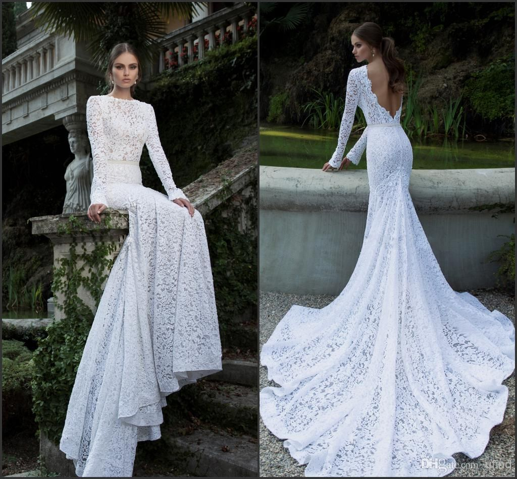 White lace wedding dress with sleeves   Berta Full Lace Wedding Dresses Bateau Neckline Deep V Backless
