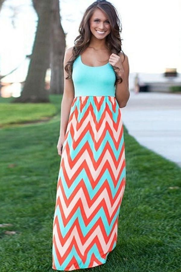 8a9e934b7ab Chevron Printed Color Block Sleeveless Maxi Dress   Casual Dresses