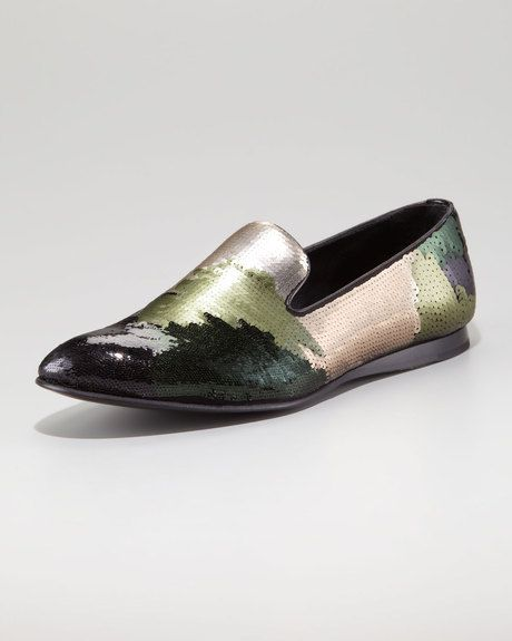 aa61bd902 Prada Camouflage Sequin Evening Loafe in Multicolor (green/ camo) - Lyst